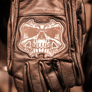 Motorcycle leather gloves with skull design