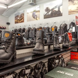 A variety of motorcycle boots and shoes