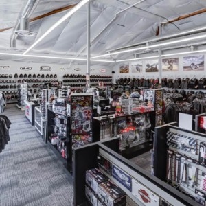 Overview of the store from the accessories departement