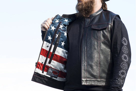 Custom leather motorcycle vests? Yes. Cool.