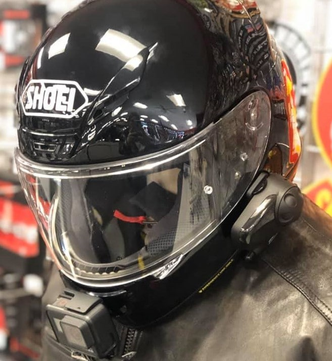 Shoei Full Face Helmet RF1200 with sena bluetooth and gopro cam