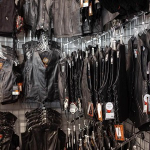 A full inventory of leather vests for biker ladies